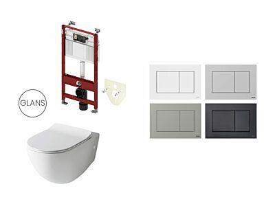 Artceram toilet glans wit met Tece inbouwreservoir en bedieningspaneel Now