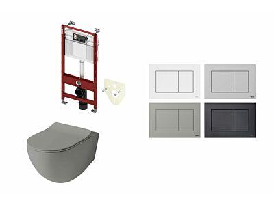Artceram toilet mat olijf grijs met Tece inbouwreservoir en bedieningspaneel Now