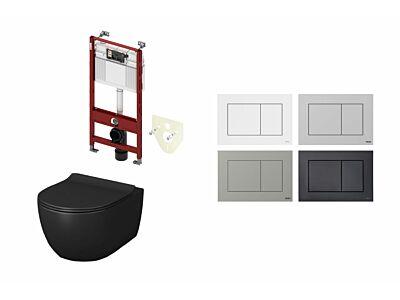 Artceram toilet mat zwart met Tece inbouwreservoir en bedieningspaneel Now