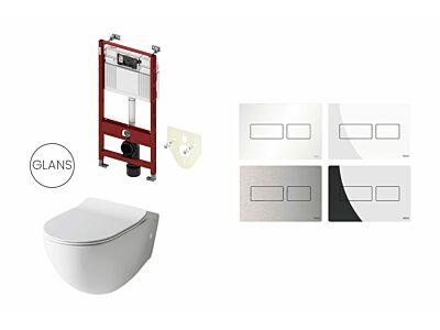 Artceram toilet glans wit met Tece inbouwreservoir en bedieningspaneel Solid