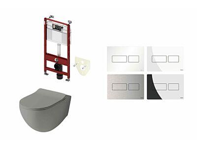 Artceram toilet mat olijf grijs met Tece inbouwreservoir en bedieningspaneel Solid