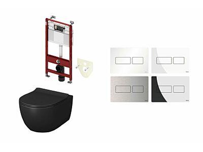 Artceram toilet mat zwart met Tece inbouwreservoir en bedieningspaneel Solid