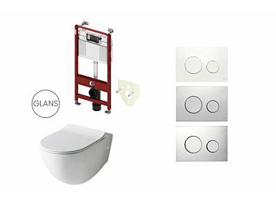 Artceram toilet glans wit met Tece inbouwreservoir en bedieningspaneel Loop