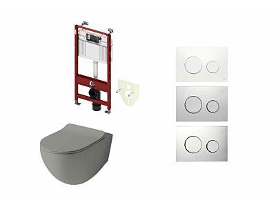 Artceram toilet mat olijf grijs met Tece inbouwreservoir en bedieningspaneel Loop