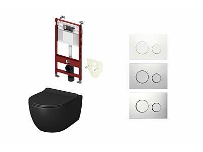 Artceram toilet mat zwart met Tece inbouwreservoir en bedieningspaneel Loop
