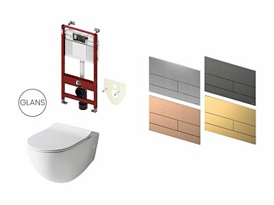Artceram toilet glans wit met Tece inbouwreservoir en bedieningspaneel Square II PVD