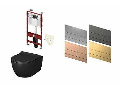 Artceram toilet mat zwart met Tece inbouwreservoir en bedieningspaneel Square II PVD