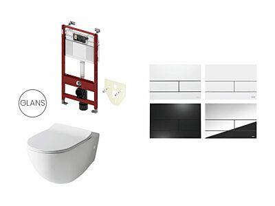 Artceram toilet glans wit met Tece inbouwreservoir en bedieningspaneel Square II