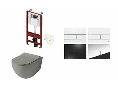 Artceram toilet mat olijf grijs met Tece inbouwreservoir en bedieningspaneel Square II