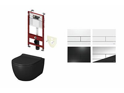 Artceram toilet mat zwart met Tece inbouwreservoir en bedieningspaneel Square II