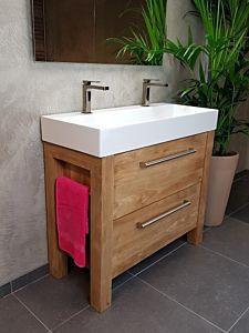 Djati teak badmeubel Frankrijk met keramiek wastafel - 120 cm