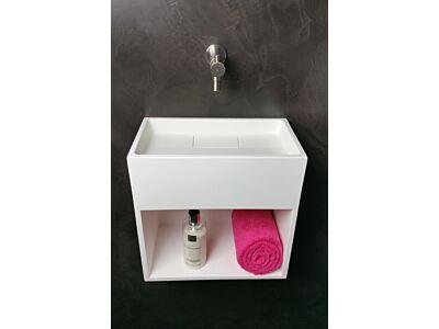 Mastello solid surface toiletfontein met geïntegreerd sifon en vak - 35 cm