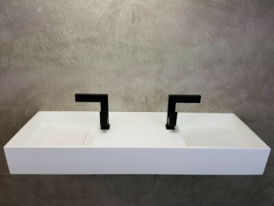 Solid Surface wastafel Solid Double 120x40 met 2 kraangaten
