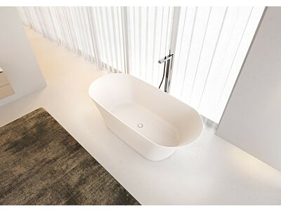 Solid Surface vrijstaand bad Riho 170x79x55cm Mat wit