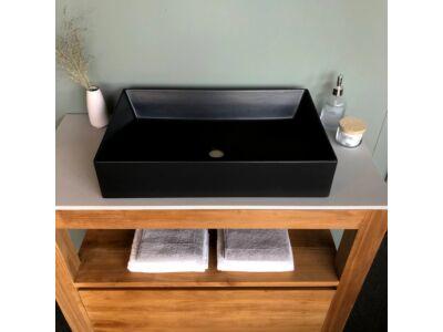 Elegance keramiek wasbak mat zwart/antraciet - 60 x 38 cm