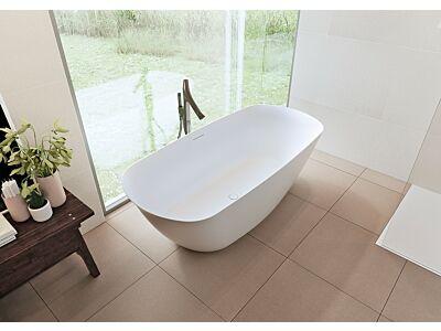Solid Surface vrijstaand bad Riho 165x77x55cm Mat wit