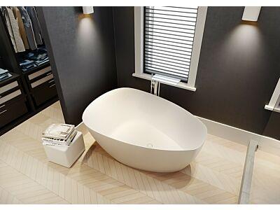 Solid Surface vrijstaand bad Riho 158x110x62cm Mat wit