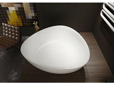 Solid Surface vrijstaand bad Riho 160x160x57cm Mat wit