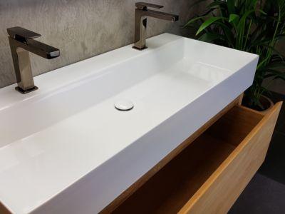 Keramiek wastafel hoogglans wit 120 enkele wasbak zonder kraangat