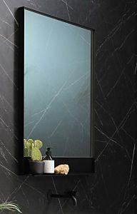 Mat zwart spiegel met planchet (9 maten)