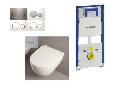 Mat grijs Toilet set met inbouwreservoir