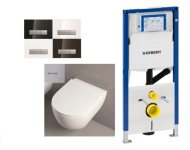 Mat grijs Toilet set met geurafzuiging inbouwreservoir