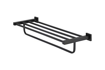 Meir mat zwarte handdoekhouder rond multi 60 cm