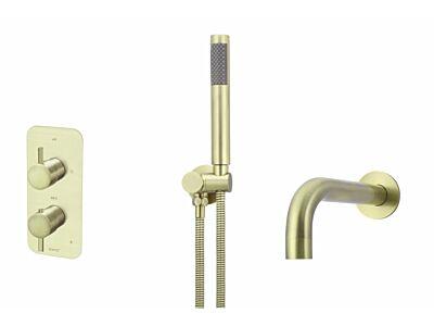 Meir koperen inbouw thermostaat badset rond - set 4