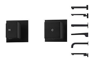 Meir mat zwarte knoppenset kubus - set 1