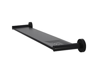 Meir mat zwarte doucheplank rond 60 cm