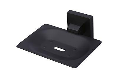 Meir mat zwarte zeephouder vierkant