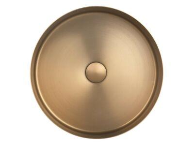 Djati RVS waskom Florence geborsteld goud - 40 cm