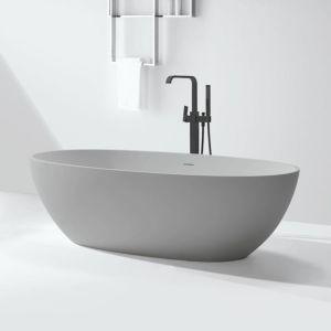 Djati solid surface vrijstaand ligbad Solid Baño Ovalado beton look - 178 cm