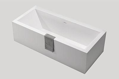 Djati solid surface vrijstaand ligbad Solid Baño Squared mat wit - 180 x 80 cm
