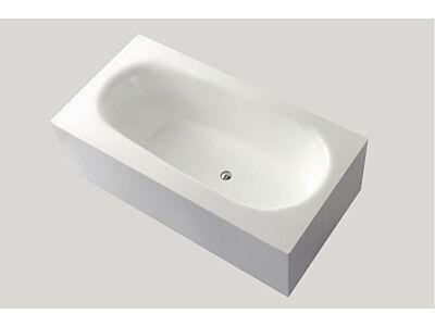 Djati solid surface vrijstaand ligbad Solid Baño Squared mat wit - 180 x 93 cm