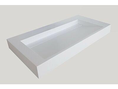 Djati solid surface enkele wastafel Solid Cascate mat wit (2 kr.gt) - 100 cm