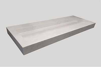 Djati solid surface enkele wastafel Solid Cascate mat marmer (1 kr.gt) - 90 cm