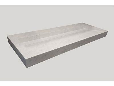 Djati solid surface enkele wastafel Solid Cascate mat marmer (1 kr.gt) - 100 cm