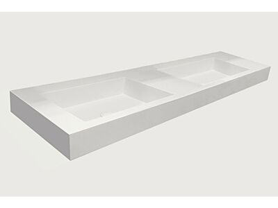 Djati solid surface dubbele wastafel Solid Stretto mat wit (2 kr.gt) - 140 cm