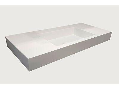 Djati solid surface enkele wastafel Solid Stretto mat wit (1 kr.gt) - 100 cm