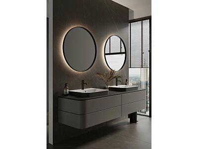 Blend ronde spiegel Miami Beach in zwart frame met led en spiegelverwarming - 60 cm
