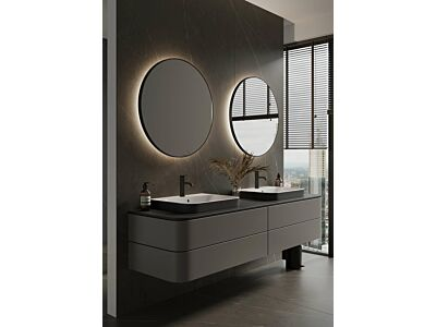 Blend ronde spiegel Toronto zwart met led en spiegelverwarming - 60 cm