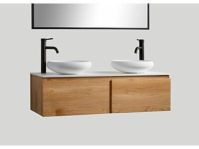Djati teak badmeubel Loft (2 lades) met solid surface top mat wit - 120 cm