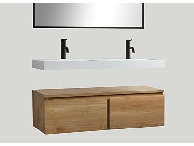 Djati teak badmeubel Loft met solid surface wastafel Stretto vrijhangend mat wit (2 kr.gt) - 160 cm