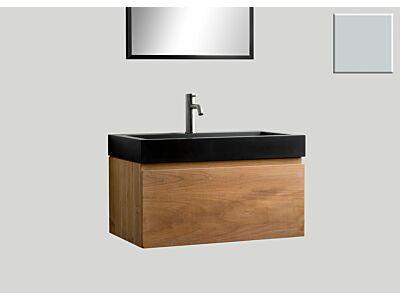Djati teak badmeubel Loft met quartz wastafel mat beton grijs (1 kr.gt) - 70 cm