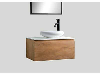 Djati teak badmeubel Loft met solid surface top mat wit - 60 cm