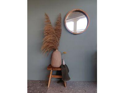 Djati teakhouten spiegel rond - 70 cm