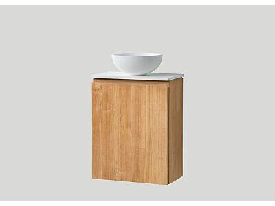 Djati teak toiletmeubel Bali links met solid surface top mat wit - 36 cm