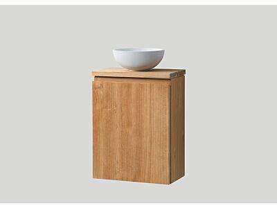 Djati teak toiletmeubel Bali links met teak top - 40 cm