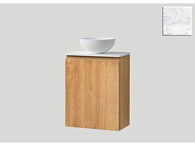 Djati teak toiletmeubel Bali links met solid surface top mat marmer - 40 cm